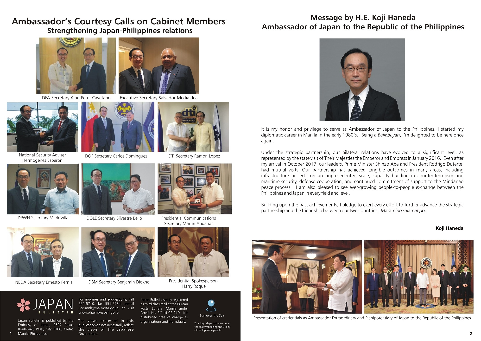 Japan Bulletin Spring 2018 : Embassy of Japan in the Philippines